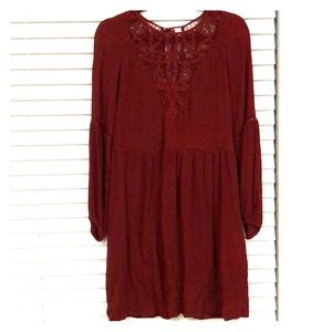 American Eagle Maroon Lacey Long Sleeve Dress